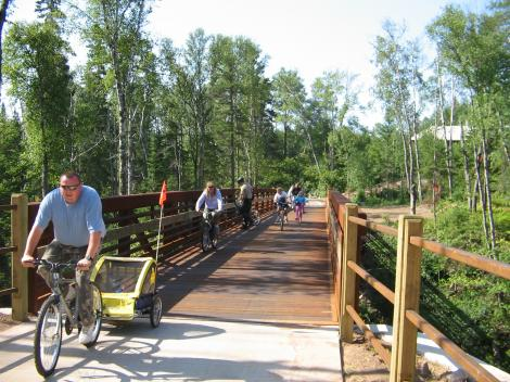 Trail Users on Temperance River Bridge